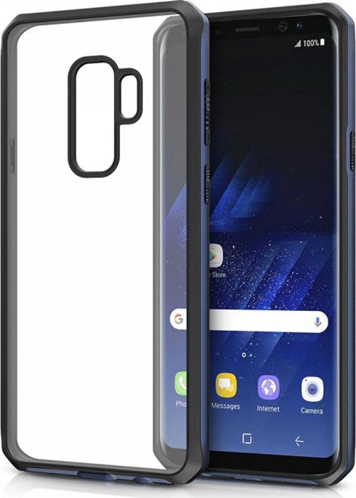 Чехол-накладка Itskins Hybrid Edge для Samsung Galaxy S9+, черный, синий, прозрачный