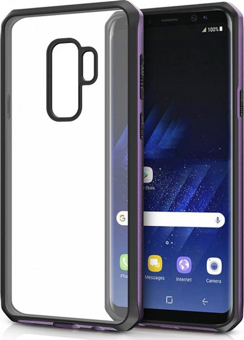 Чехол-накладка Itskins Hybrid Edge для Samsung Galaxy S9+, черный, фиолетовый, прозрачный