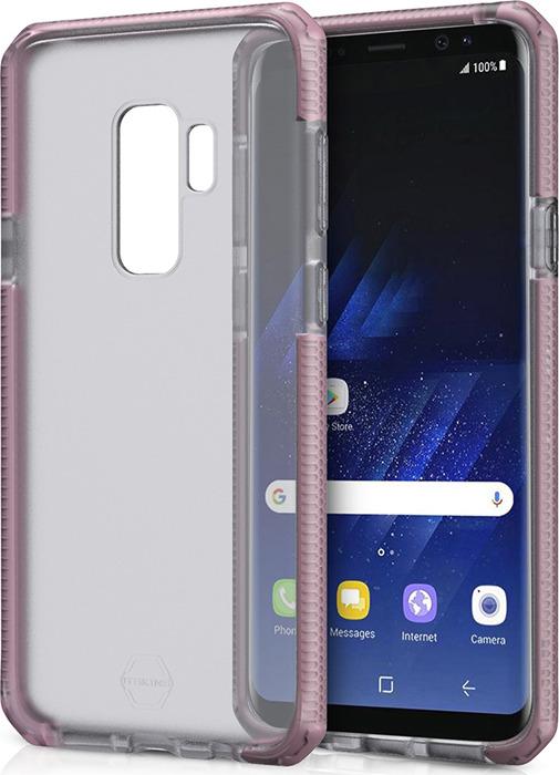 Чехол-накладка Itskins Supreme Frost для Samsung Galaxy S9+, светло-розовый, черный