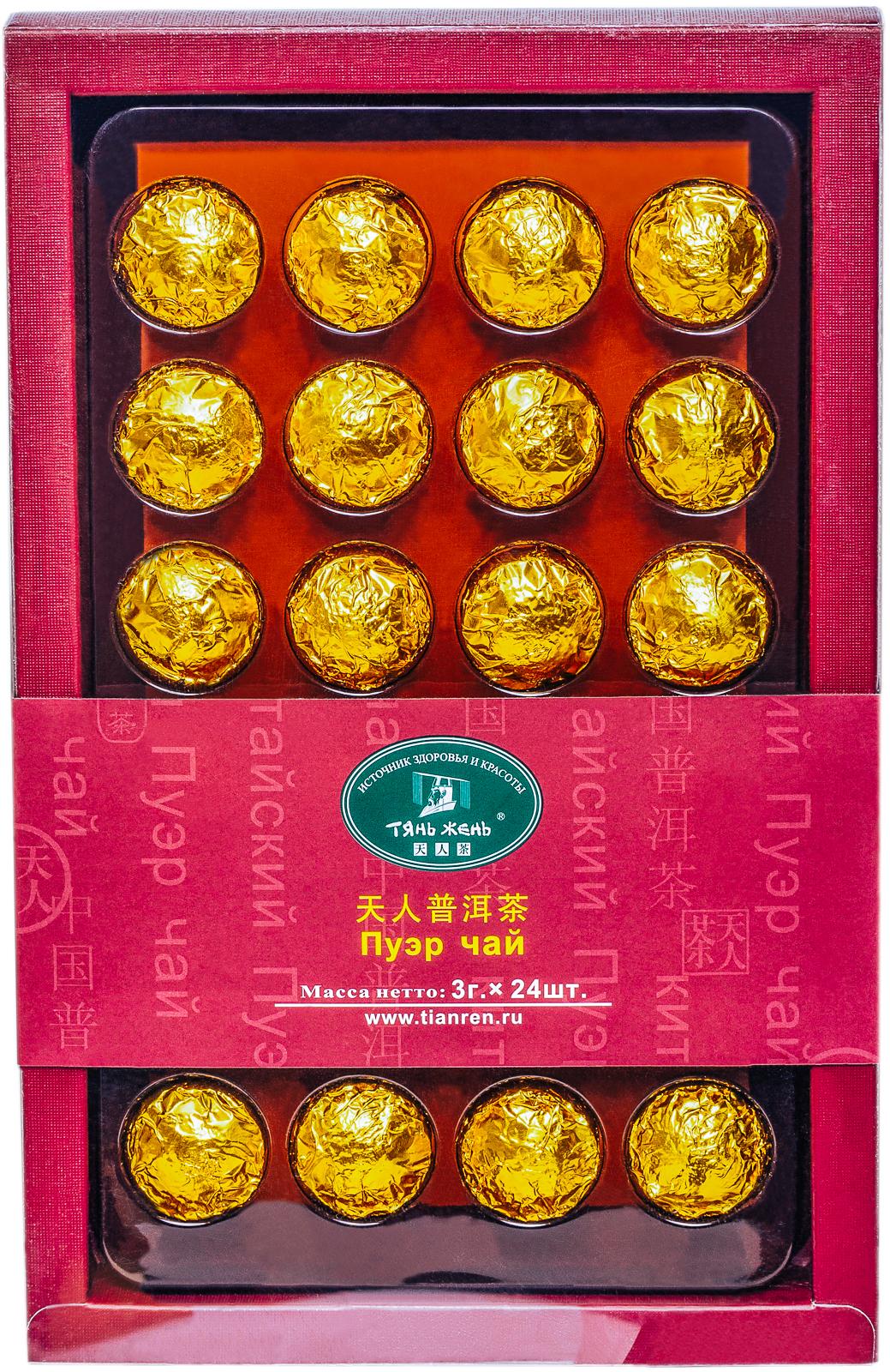 Чай листовой Тянь Жень Пуэр мини Туо Ча, 72 цена и фото