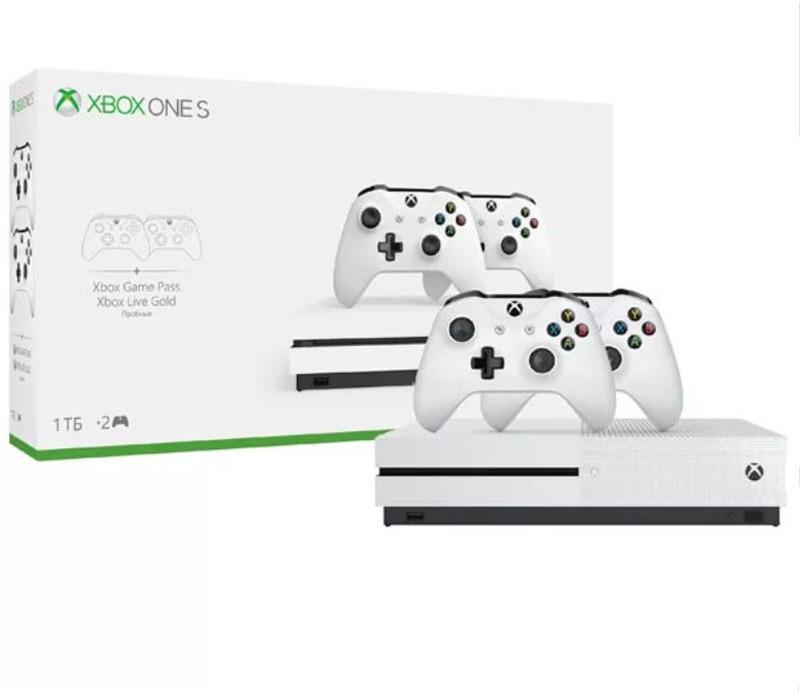 Игровая приставка Microsoft Xbox One S 1 ТБ, 234-00013-2g, White игровая консоль microsoft xbox one s 1 тб [234 00311] игра playerunknown s battlegrounds