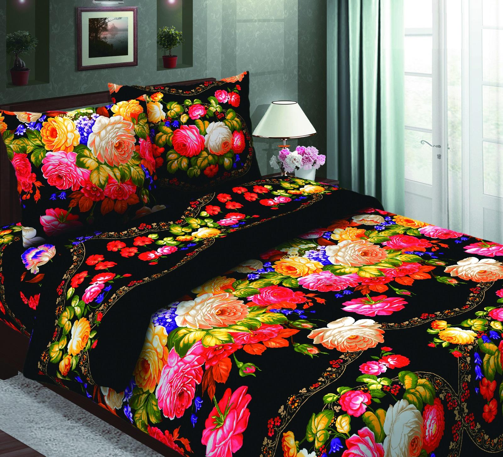 Комплект постельного белья ТК Традиция Традиция, для сна и отдыха, черный, розовый, желтый