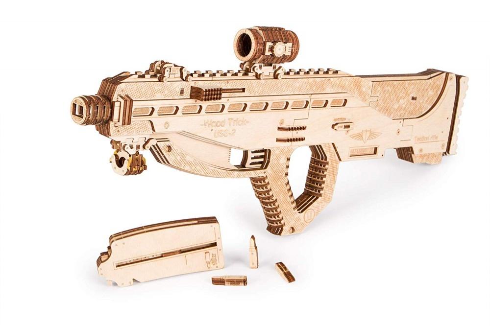 Механическая конструктор Wood Trick Штурмовая винтовка USG-2