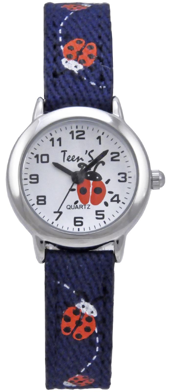 Часы Тик-Так Н114-4 синие бож коровки, темно-синий11538Наручные часы Тик-Так Teen'S Collection предназначены для детей и подростков от 7 лет. У часов металлический корпус, стальная задняя крышка, минеральное стекло и мягкий тканевый ремешок с внутренней частью из кожзама. В часы установлен надежный японский механизм TMI PC21, который комплектуется сменной батарейкой типа SR626SW. Часы имеют брызгозащищенную конструкцию.