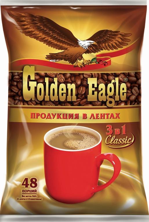 Фото - Растворимый кофейный напиток 3 в 1 Golden Eagle Classic, 4 ленты по 12 шт. по 20 г массoffee 3 в 1 original кофейный напиток 5 шт
