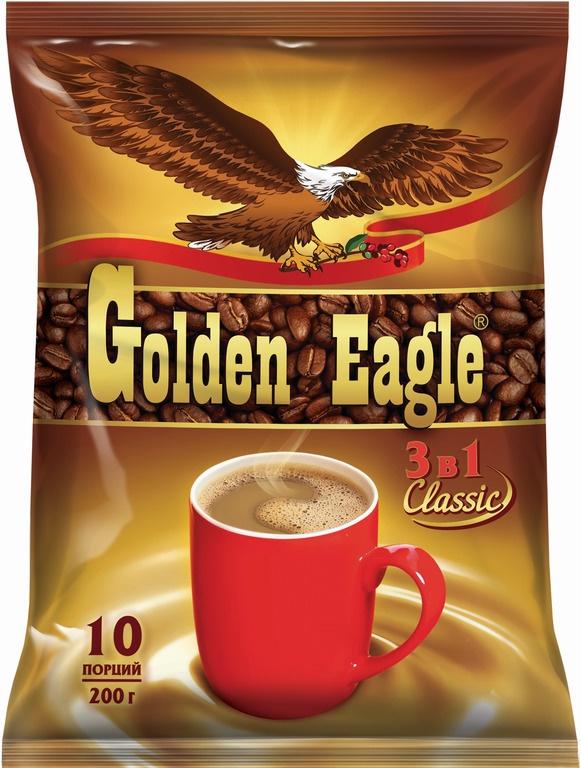 Фото - Растворимый кофейный напиток 3 в 1 Golden Eagle Classic, 10 шт. по 20 г массoffee 3 в 1 original кофейный напиток 5 шт