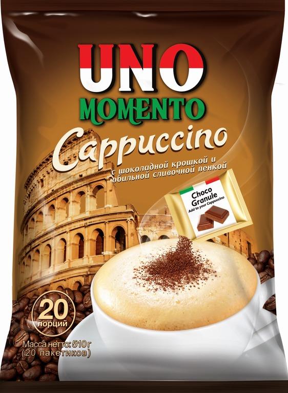 Растворимый кофейный напиток Uno Momento с шоколадной крошкой, 20 шт.  по 25,5 г UNO MOMENTO