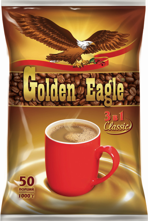 Фото - Растворимый кофейный напиток 3 в 1 Golden Eagle Classic, 50 шт. по 20 г массoffee 3 в 1 original кофейный напиток 5 шт