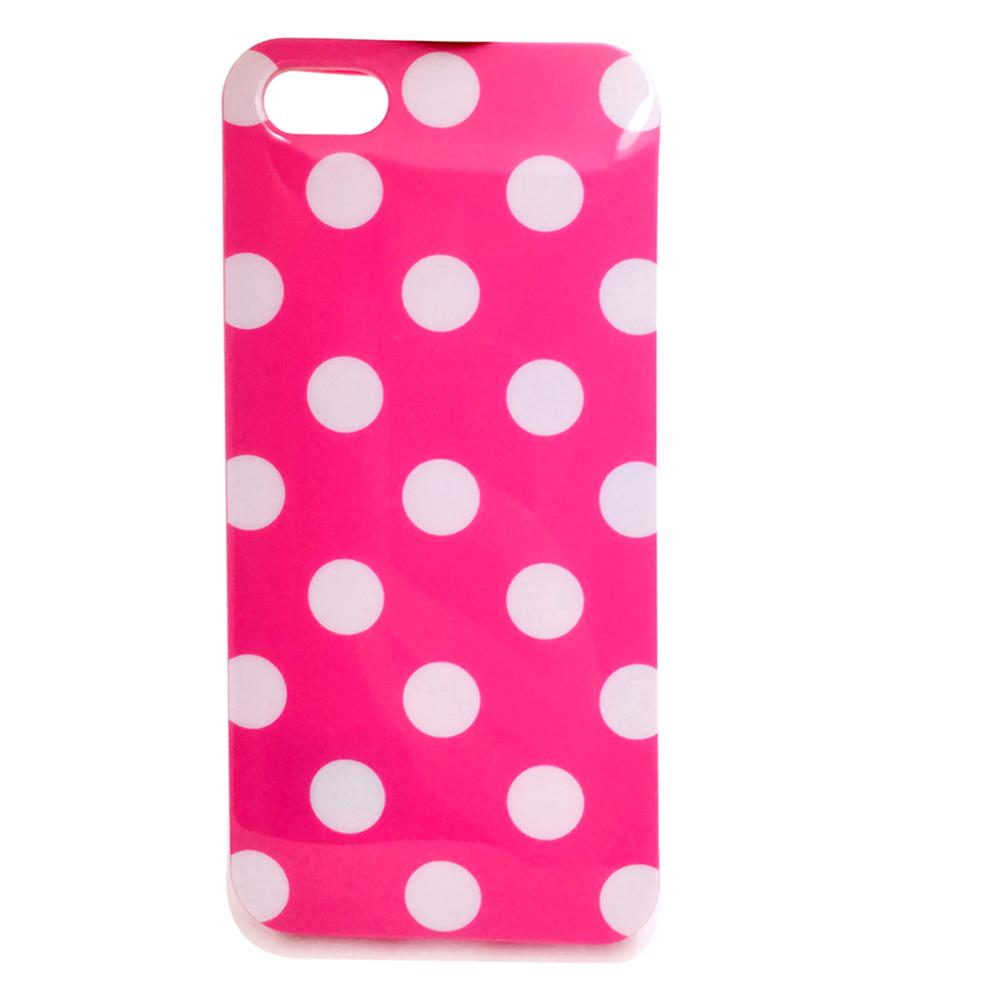 Чехол для сотового телефона Мобильная Мода iPhone 5/SE Накладка силиконовая с рисунком в горошек Polka, розовый