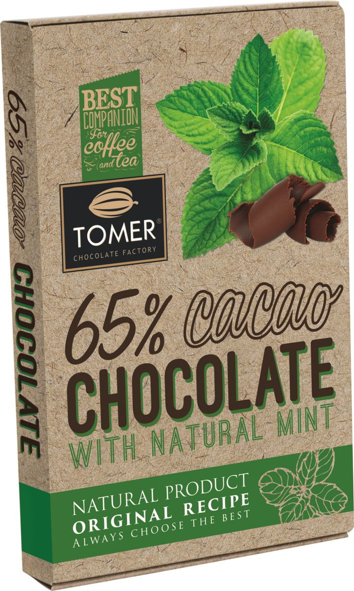 Горький шоколад, Томер, с мятой, 90 г