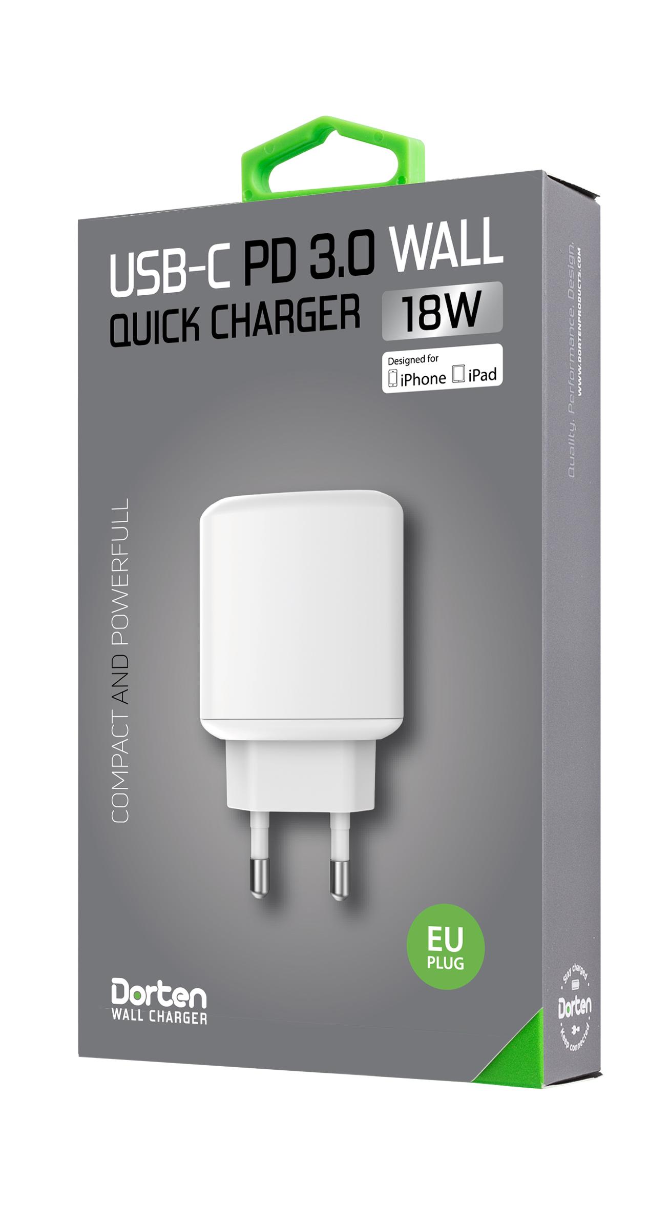 Зарядное устройство DORTEN Quick Charger USB-C PD3.0 18W, белый
