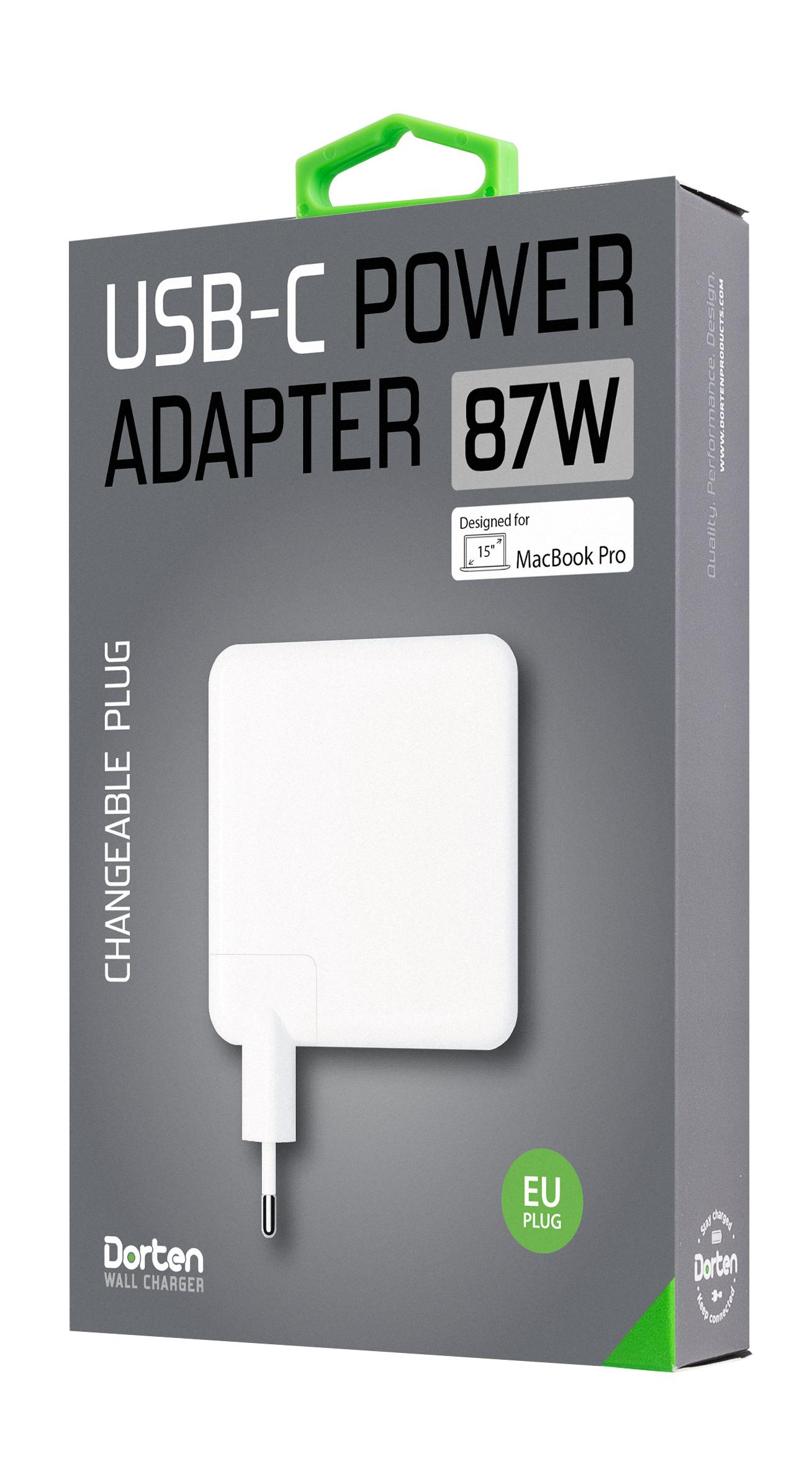 Зарядное устройство DORTEN USB-C Power Adapter 87W, белый сетевой адаптер питания lp с usb выходом