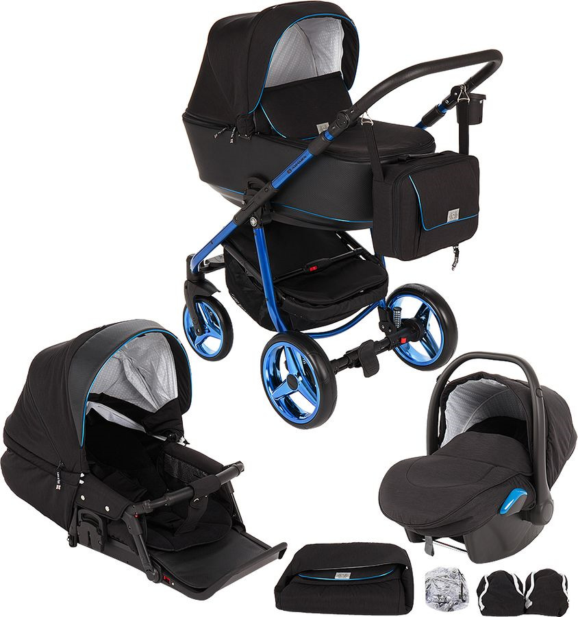 Коляска универсальная Adamex Reggio Special Edition 3 в 1, Y301, черный, синий недорого