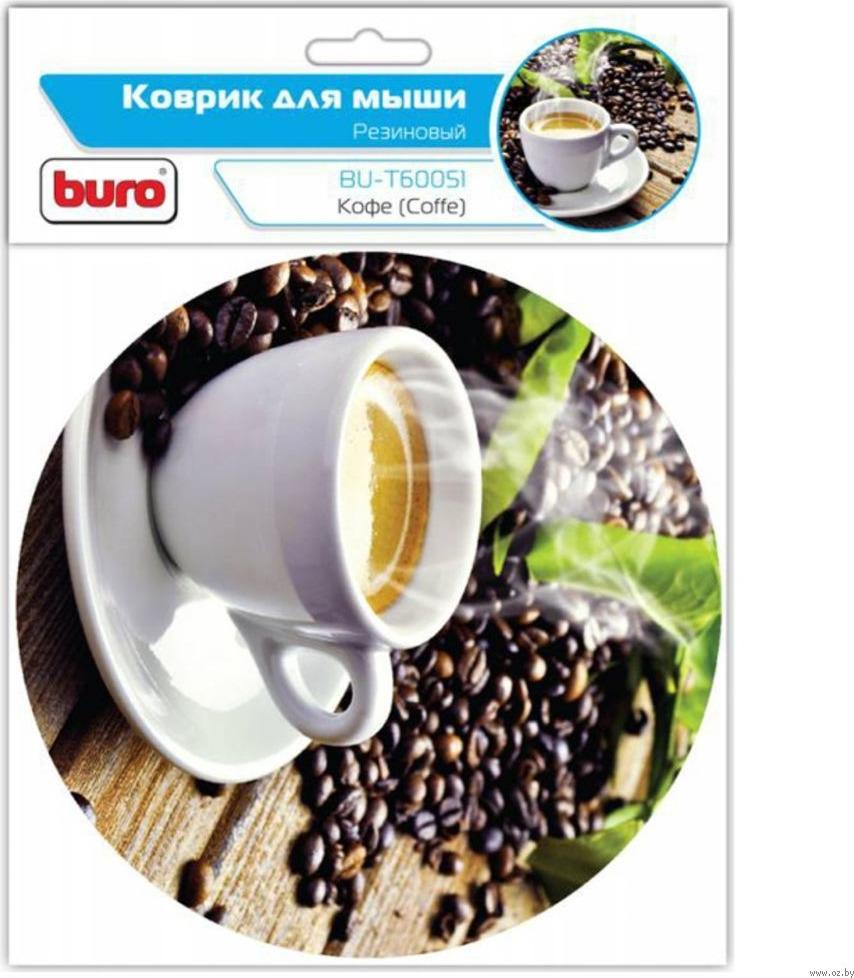 Коврик Buro BU-T60051 для мыши, рисунок/кофе