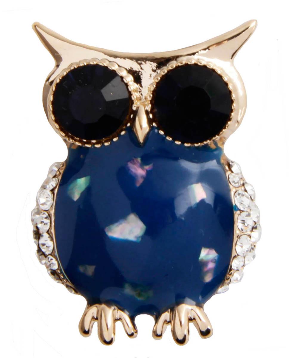 Брошь бижутерная Антик Хобби ОС30021, Бижутерный сплав, Австрийские кристаллы, Эмаль, золотой, синий, черный