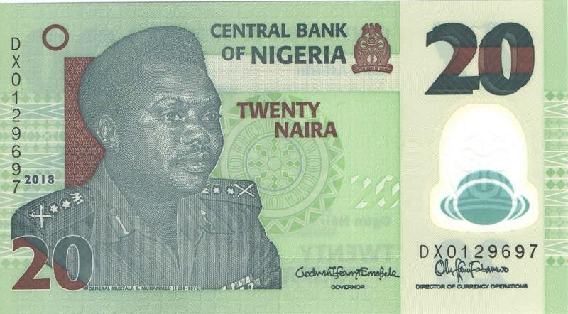 Банкнота номиналом 20 найра. Полимер. Нигерия. 2018 год цены онлайн