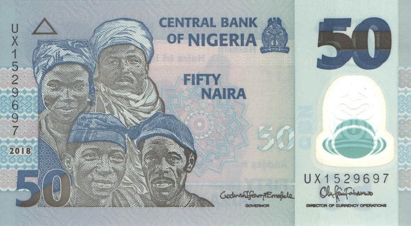 Банкнота номиналом 50 найра. Полимер. Нигерия. 2018 год цены онлайн