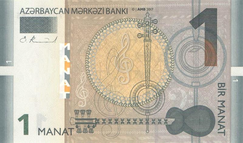 Банкнота номиналом 1 манат. Азербайджан. 2017 год банкнота номиналом 1 кип лаос 1962 год au