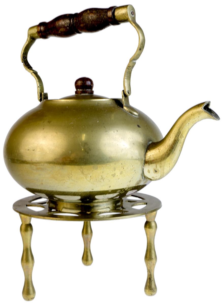Чайник на подставке. Латунь дерево. Западная Европа первая половина ХХ века