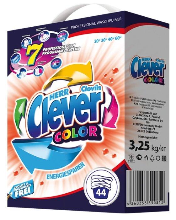 Стиральный порошок Clever Color 3,25кг картон экологический стиральный порошок ecover концентрат универсальный 3 кг