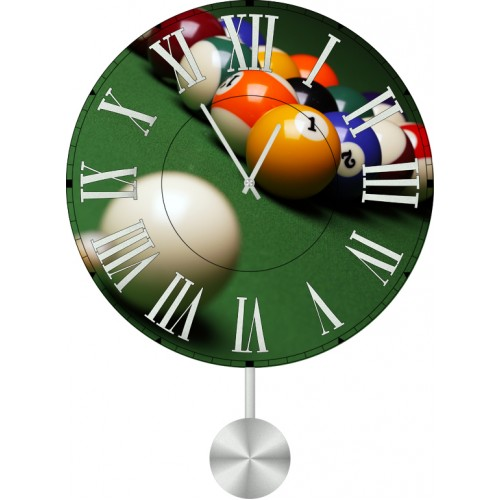 Настенные часы Kitch Clock 40116254011625Настенные часы с маятником. Механизм: Кварцевый. Корпус: Дерево. Размер: Диаметр 40 см. Рисунок: Бильярд