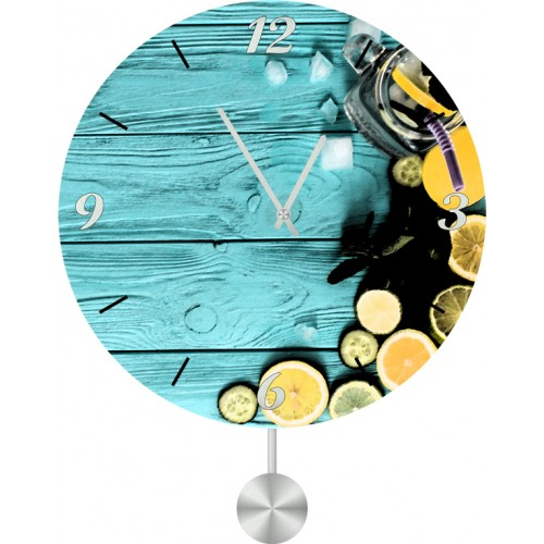 Настенные часы Kitchen Interiors 40116614011661Настенные часы с маятником. Механизм: Кварцевый. Корпус: Дерево. Размер: Диаметр 40 см. Рисунок: Лимонно-лаймовый коктейль