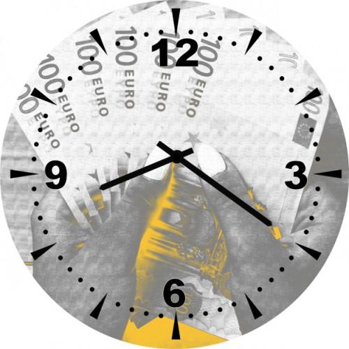 Настенные часы Kitch Clock 40016874001687Настенные часы. Механизм: Кварцевый. Корпус: Дерево. Размер: Диаметр 40 см. Рисунок: Деньги евро