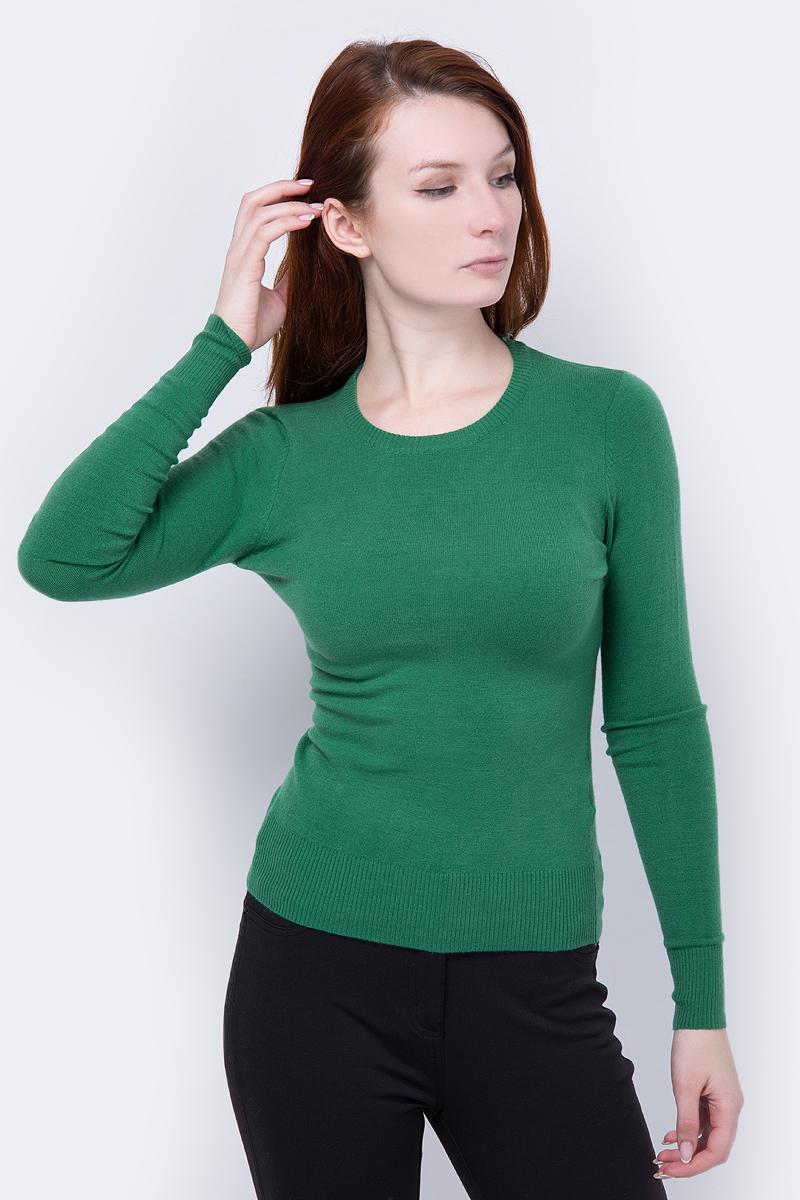 Джемпер женский oodji Ultra, цвет: зеленый. 63812409-4/38149/6E00N. Размер XS (42)63812409-4/38149/6E00NСтильный женский джемпер oodji Ultra выполнен из качественного комбинированного материала. Модель с длинными рукавами и круглым вырезом горловины выполнена в лаконичном дизайне. Манжеты, горловина и низ джемпера выполнены из трикотажной резинки.