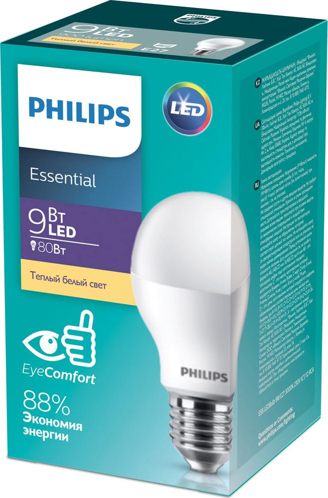 Лампочка Philips светодиодная Essential LEDBulb лампочка светодиодная philips essential ledbulb 929001962887 цоколь e27 9w 4000k