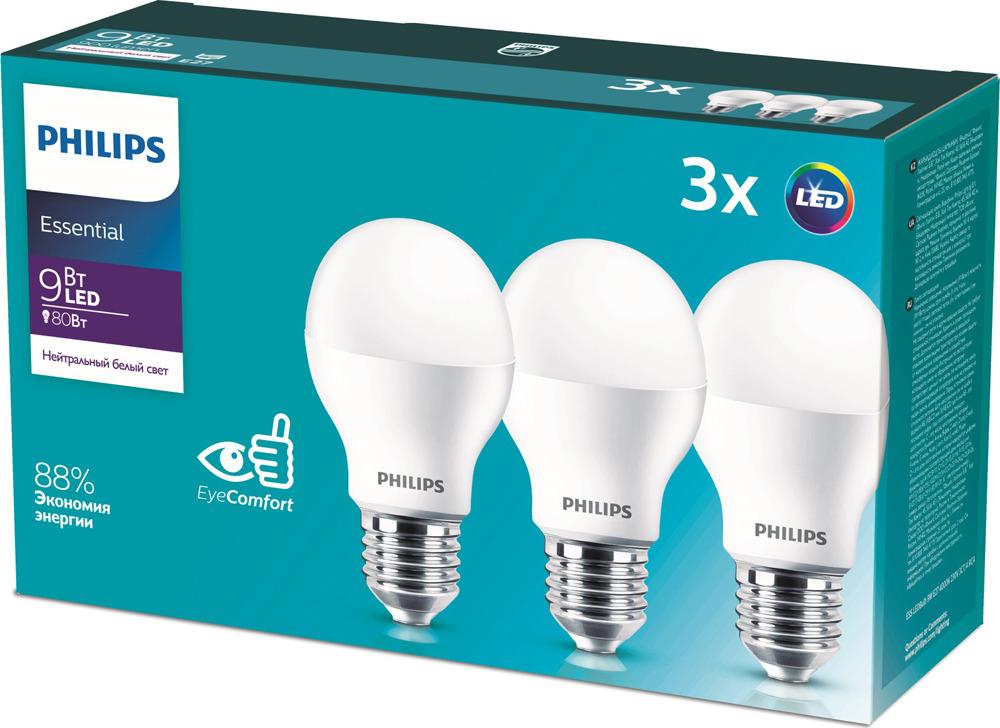 Лампочка Philips светодиодная Essential LEDBulb 9 Вт, Светодиодная лампочка светодиодная philips essential ledbulb 929001962887 цоколь e27 9w 4000k