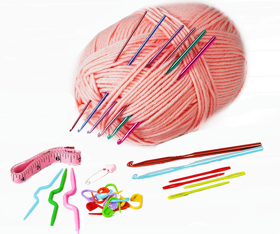 Набор для вязания крючком, 2600714, 18 предметов цена