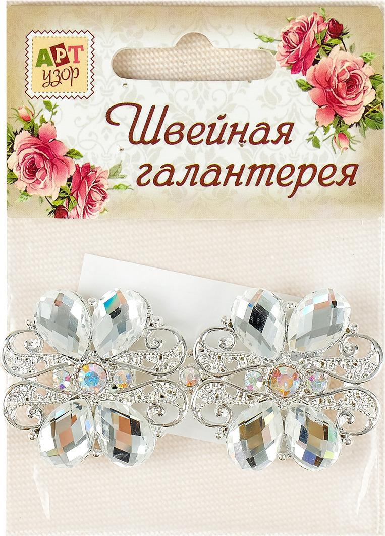 Застежка декоративная Арт Узор, 3032705, серебро, 7,2 х 3,5 см
