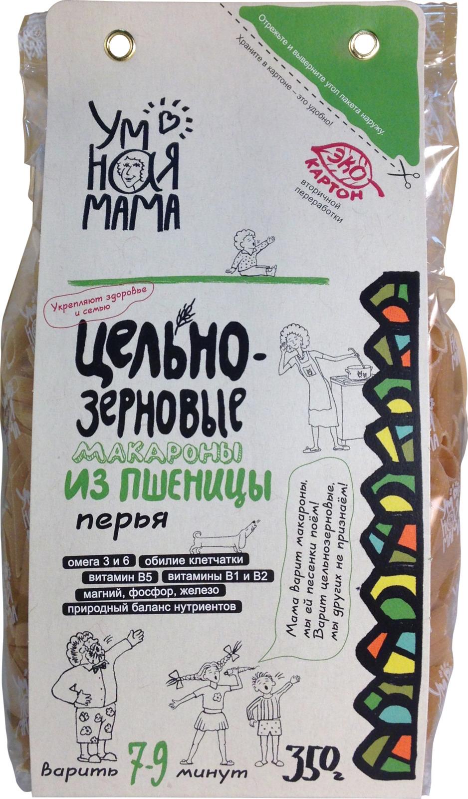 "Макароны пшеничные Умная мама ""Перья"", 350 г"