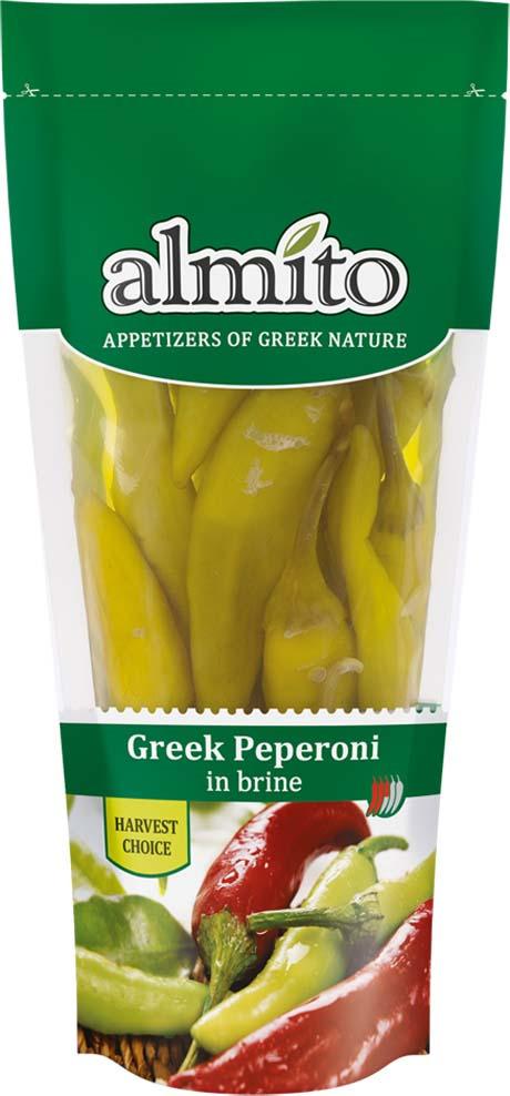 Овощные консервы Almito Греческий зеленый перец пеперони, маринованный, 250 мл