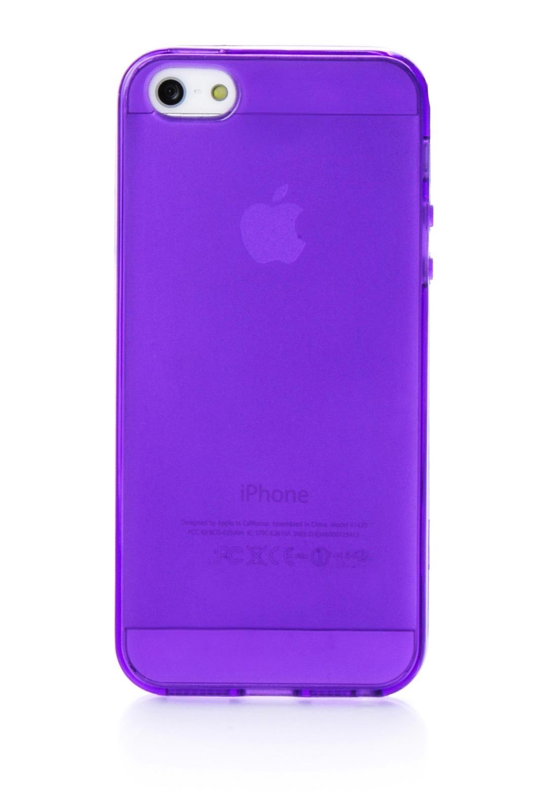 Чехол для сотового телефона iNeez накладка силиконовый глянцевый 400048 для Apple iPhone 5/5S/SE, фиолетовый