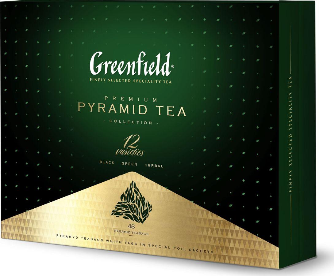 Чай в пирамидках Greenfield Эксклюзивная коллекция чая и чайного напитка, 12 видов, 48 шт беседа черный чай в пакетиках 24 шт