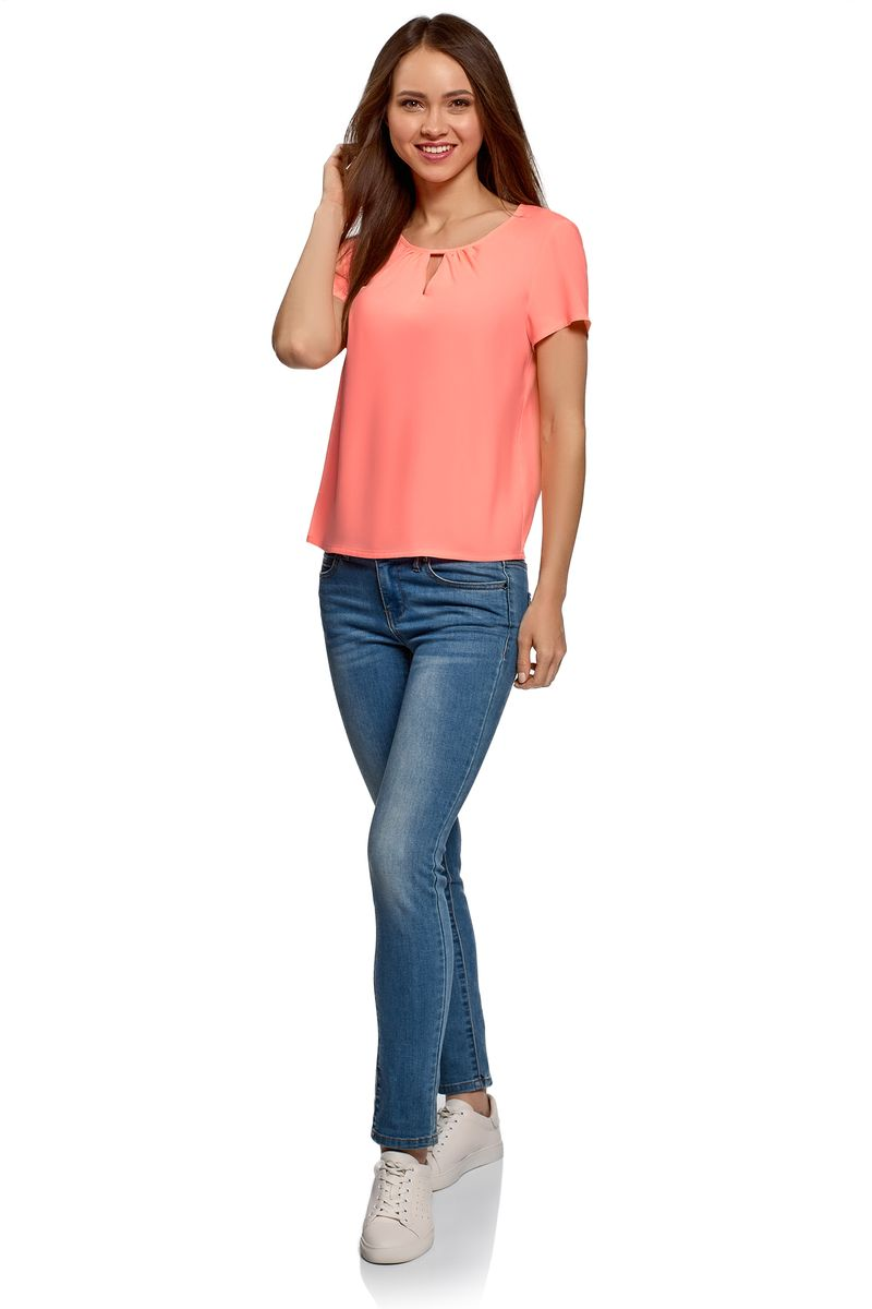 Блузка oodji блузка женская oodji ultra цвет ярко синий 11411136b 26346 7501n размер 40 170 46 170