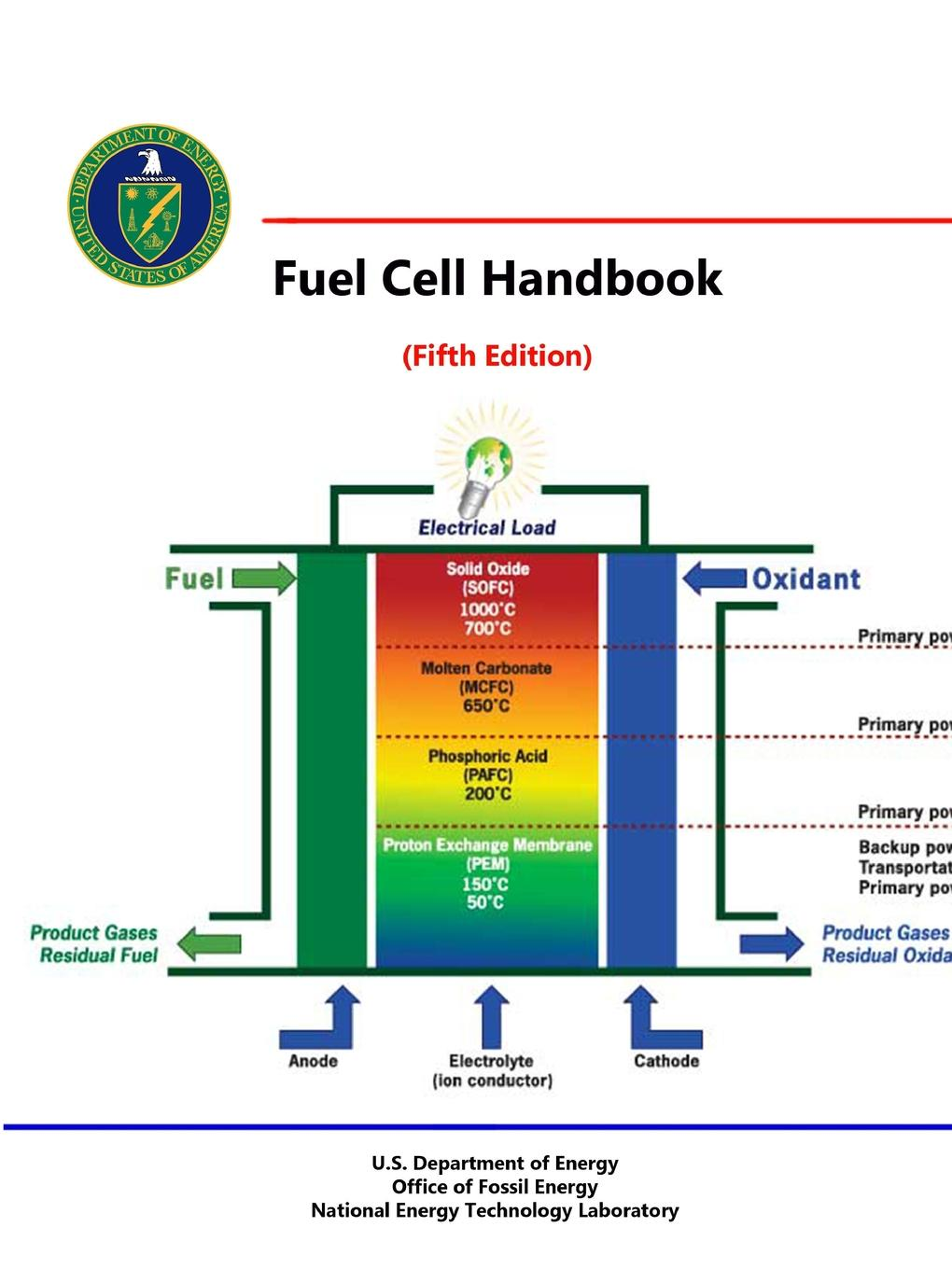 U.S. Department of Energy Fuel Cell Handbook (Fifth Edition) pem cell electrolyzer fuel cell to generate power pem cell for experimental education