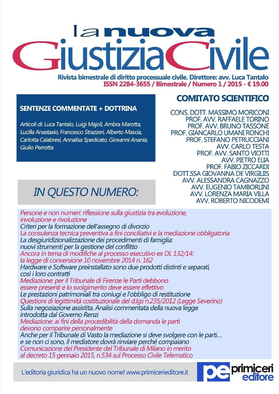 Luca Tantalo La Nuova Giustizia Civile (Num 1/ Anno 2015) luca debiti da qui all eternita