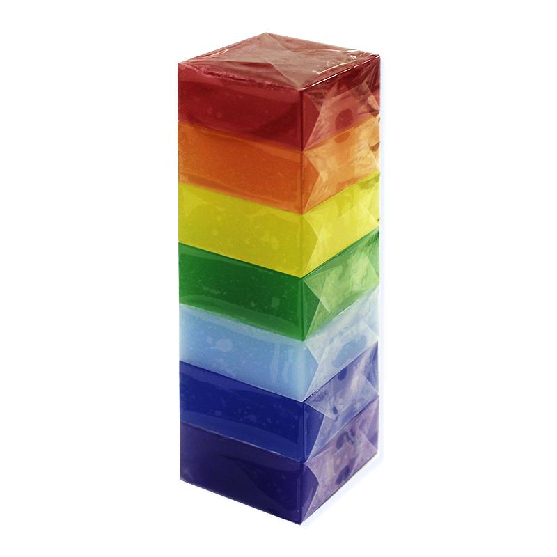 Мыло туалетное ЭЛИБЭСТ Ухаживающее натуральное глицериновое мыло набор «Радуга» для повседневного использования, 7 шт. по 60 гр.