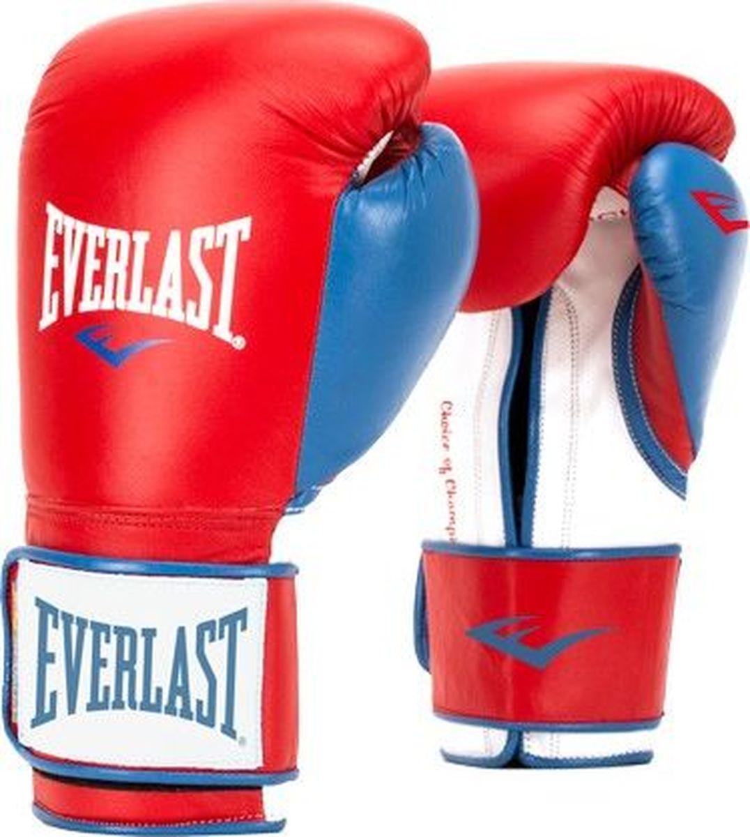 Боксерские перчатки Everlast Powerlock, тренировочные, P00000729-10, красный, синий, вес 10 унций