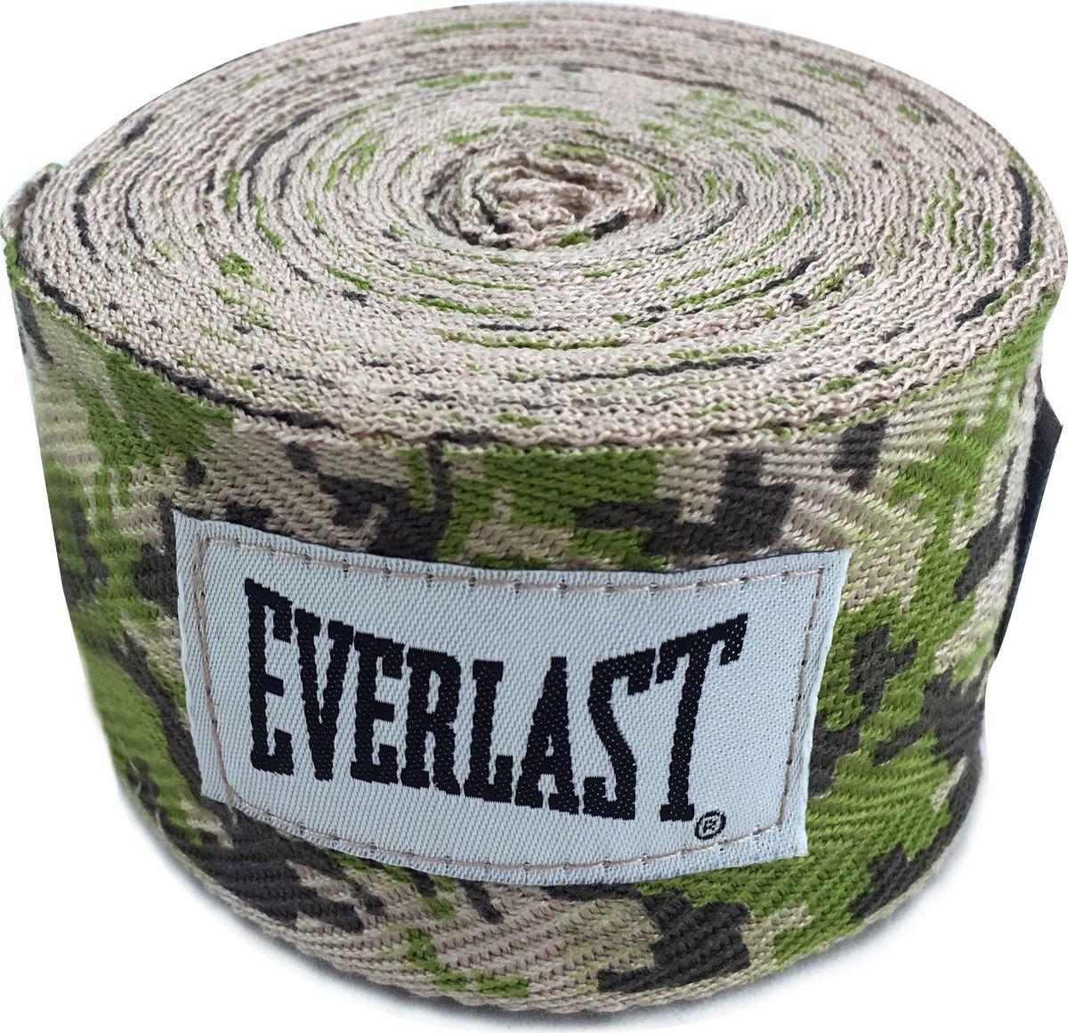 Боксерский бинт Everlast, 4465CAMO, зеленый, 2,5 м