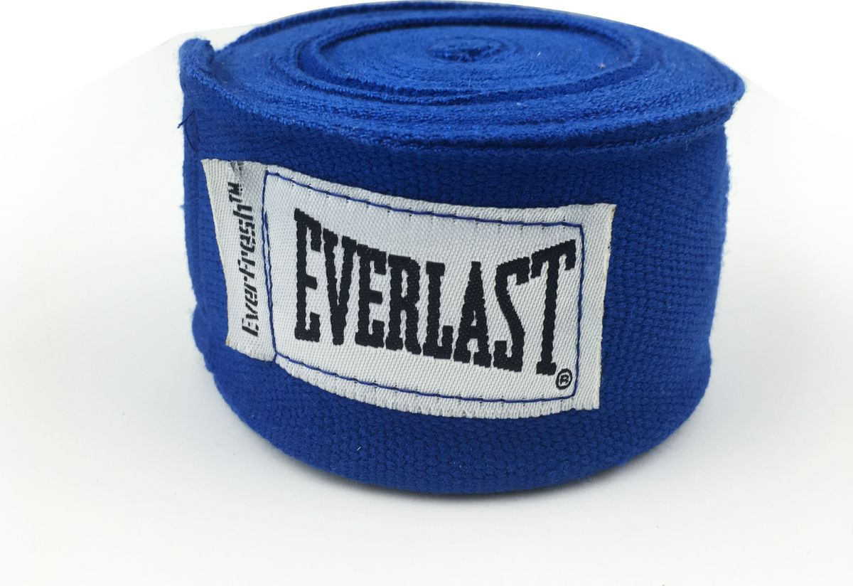 Боксерский бинт Everlast Elastic, 4464BL, синий, 3,5 м