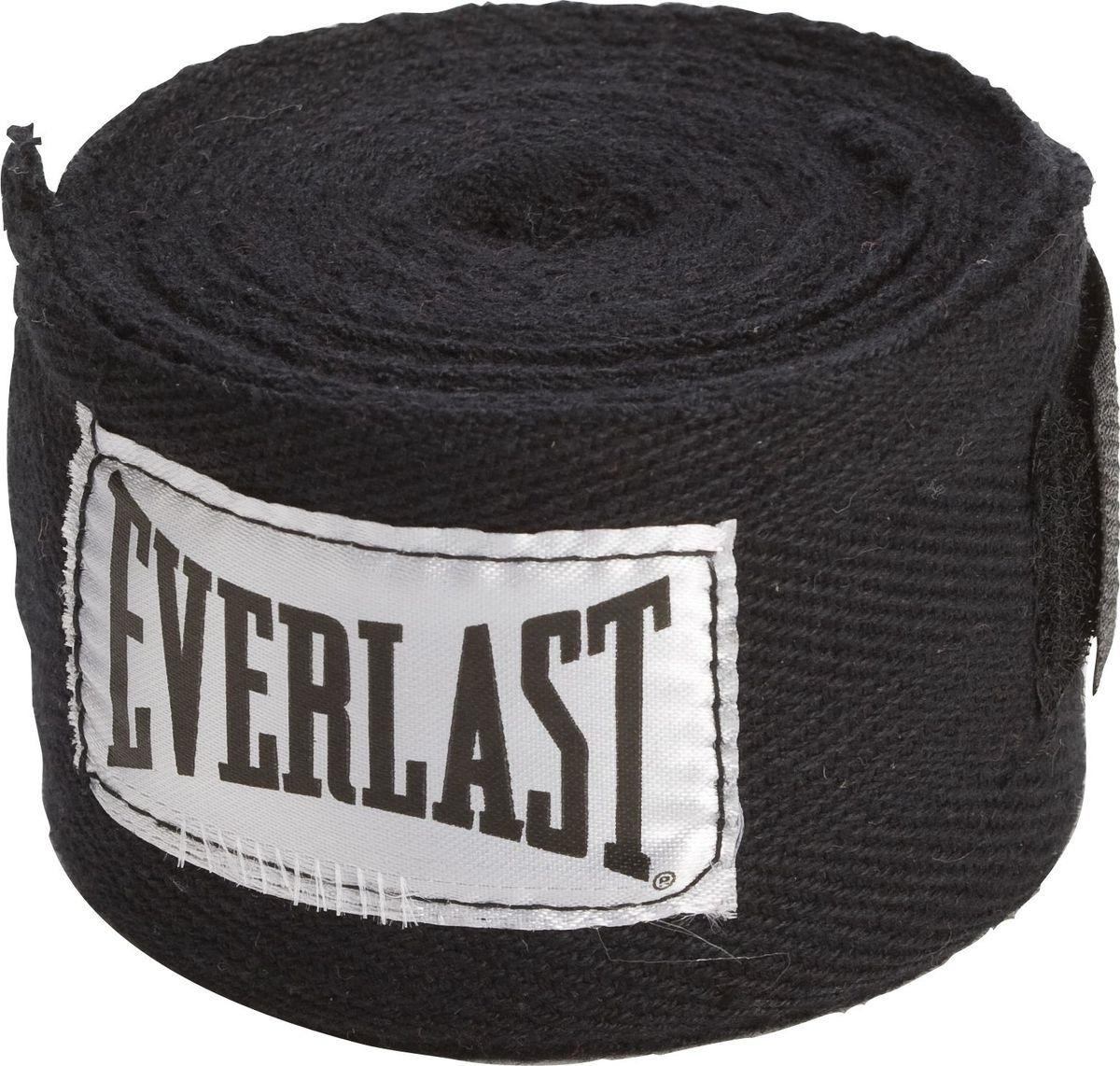 Боксерский бинт Everlast, 4466BK, черный, 3,5 м