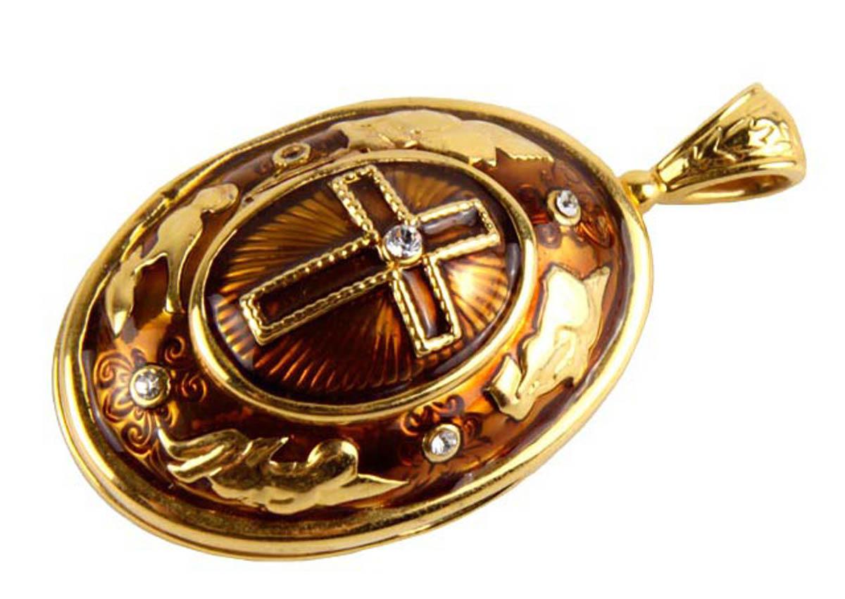 Подвеска/кулон бижутерный Edgar Berebi ОС31803, Бижутерный сплав, Эмаль, Австрийские кристаллы, золотой, коричневый кюп золотой кулон с эмалью alm1625135323