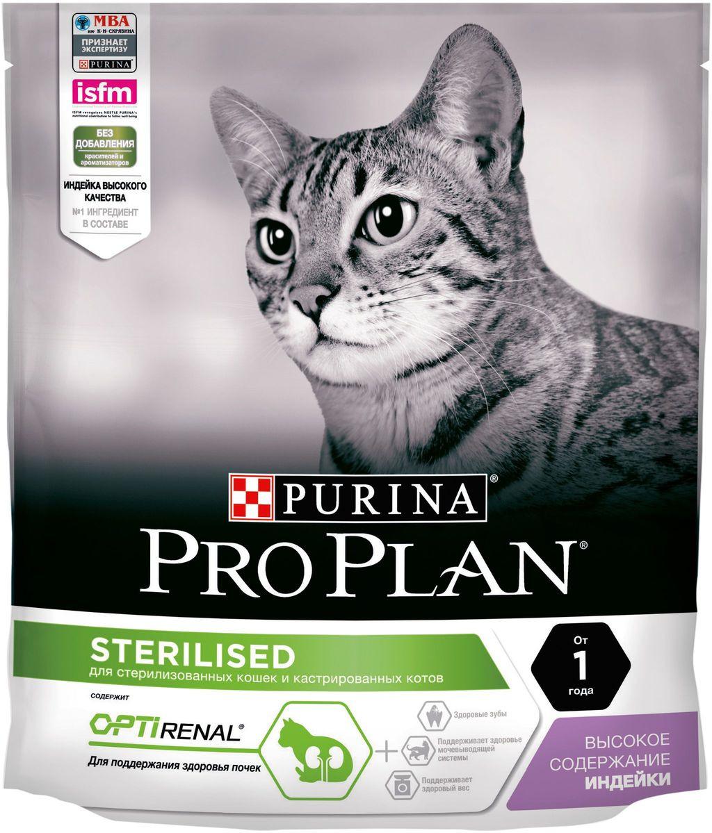 """Корм сухой """"Purina Pro Plan"""" для стерилизованных кошек и кастрированных котов, с индейкой, 400 г"""