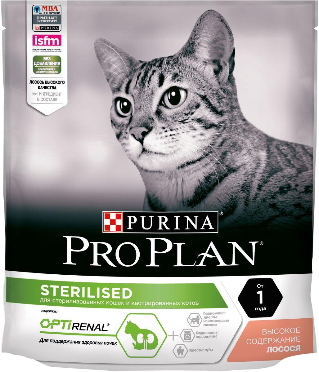 """Корм сухой Pro Plan """"Sterilised"""" для взрослых стерилизованных кошек и кастрированных котов, с лососем, 400 г"""