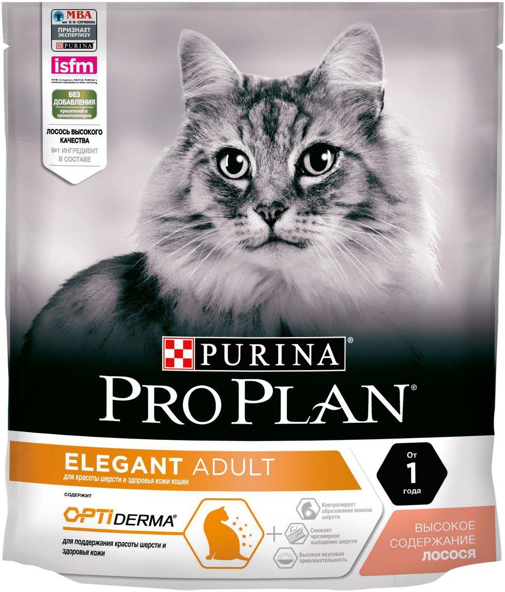 Корм сухой Pro Plan Elegant для кошек с чувствительной кожей, с лососем, 400 г