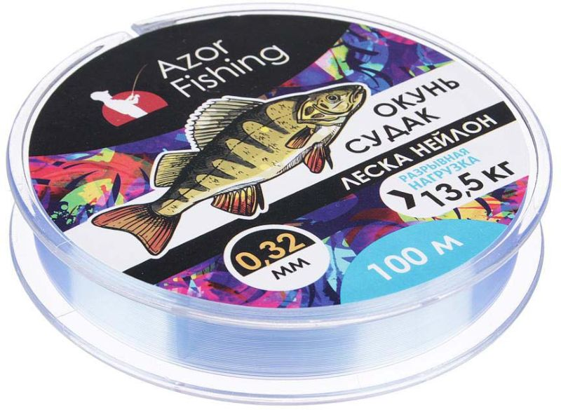 Леска AzorFishing Окунь, Судак, 100 м, 0,32 мм, 13,5 кг леска balsax tarantula gold 100 м 0 32 мм 13 0 кг