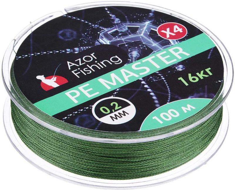 Леска AzorFishing PE Мастер, 100 м, 0,2 мм, 16 кг чехол для удочек azorfishing 150 см